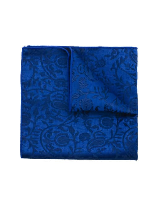 Blue Floral Woven Pocket Square PSQ41.9