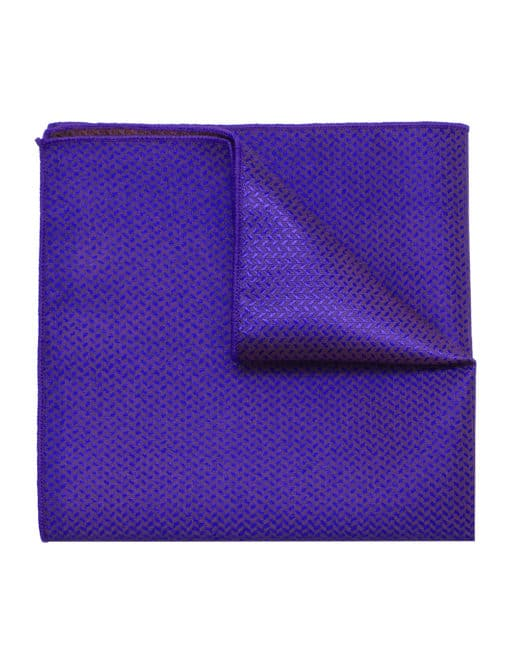 Blue Herringbone Woven Pocket Square PSQ44.9