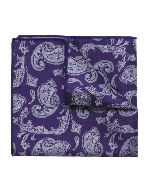 Purple Paisley Woven Pocket Square PSQ46.9