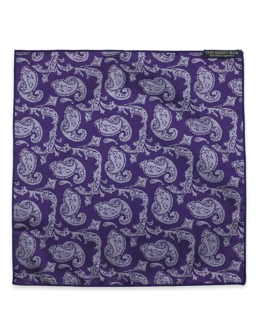 Purple Paisley Woven Pocket Square PSQ46.9