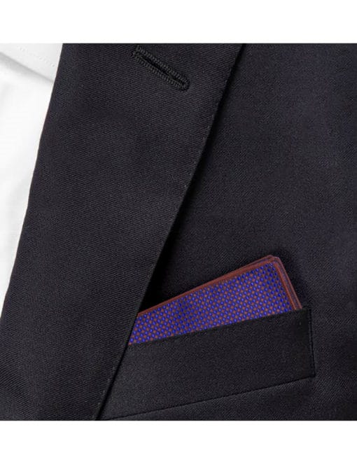 Blue with Red Pattern Woven Pocket Square PSQ48.9