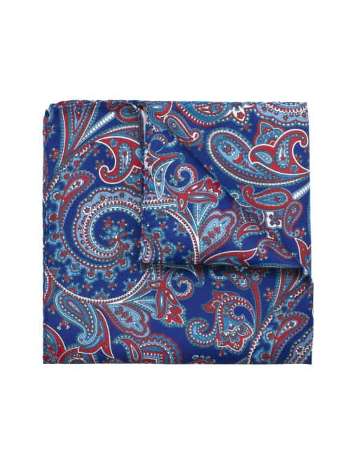Navy with Red Paisley Print Pocket Square PSQ6.9