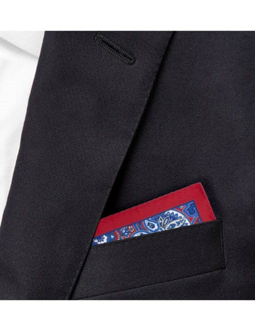 Red with Blue Paisley Print Pocket Square PSQ8.9