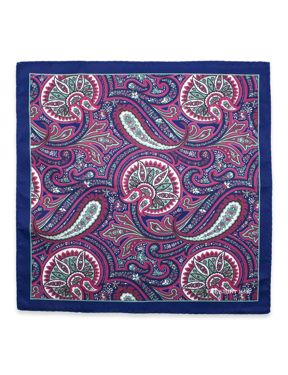 Navy with Pink and Green Paisley Print Pocket Square PSQ9.9