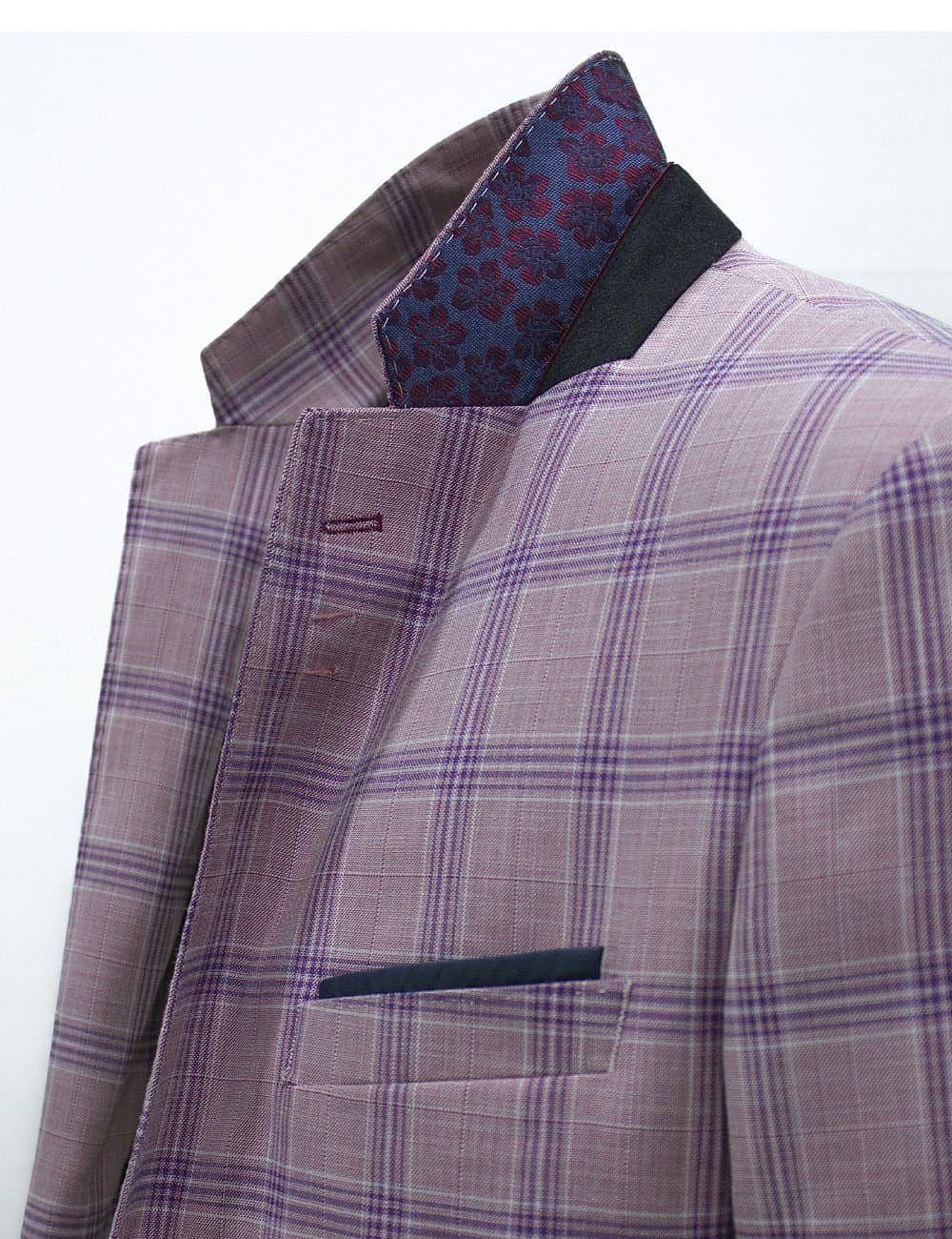 Slim Fit Pink with Blue Checks Single Breasted Blazer - S2B1.4