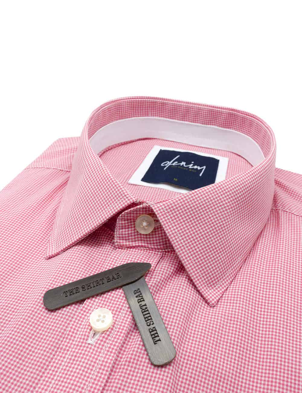 RF Pink Micro Checks Denim Collection 100% Cotton Long Sleeve Single Cuff Shirt RF2BA13.7