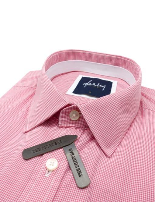 RF Pink Micro Checks Denim Collection 100% Cotton Long Sleeve Single Cuff Shirt RF2BA13.7