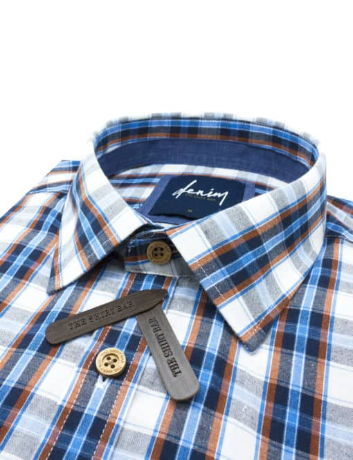 RF Navy Checks Denim Collection 100% Cotton Long Sleeve Single Cuff Shirt RF2BA19.7