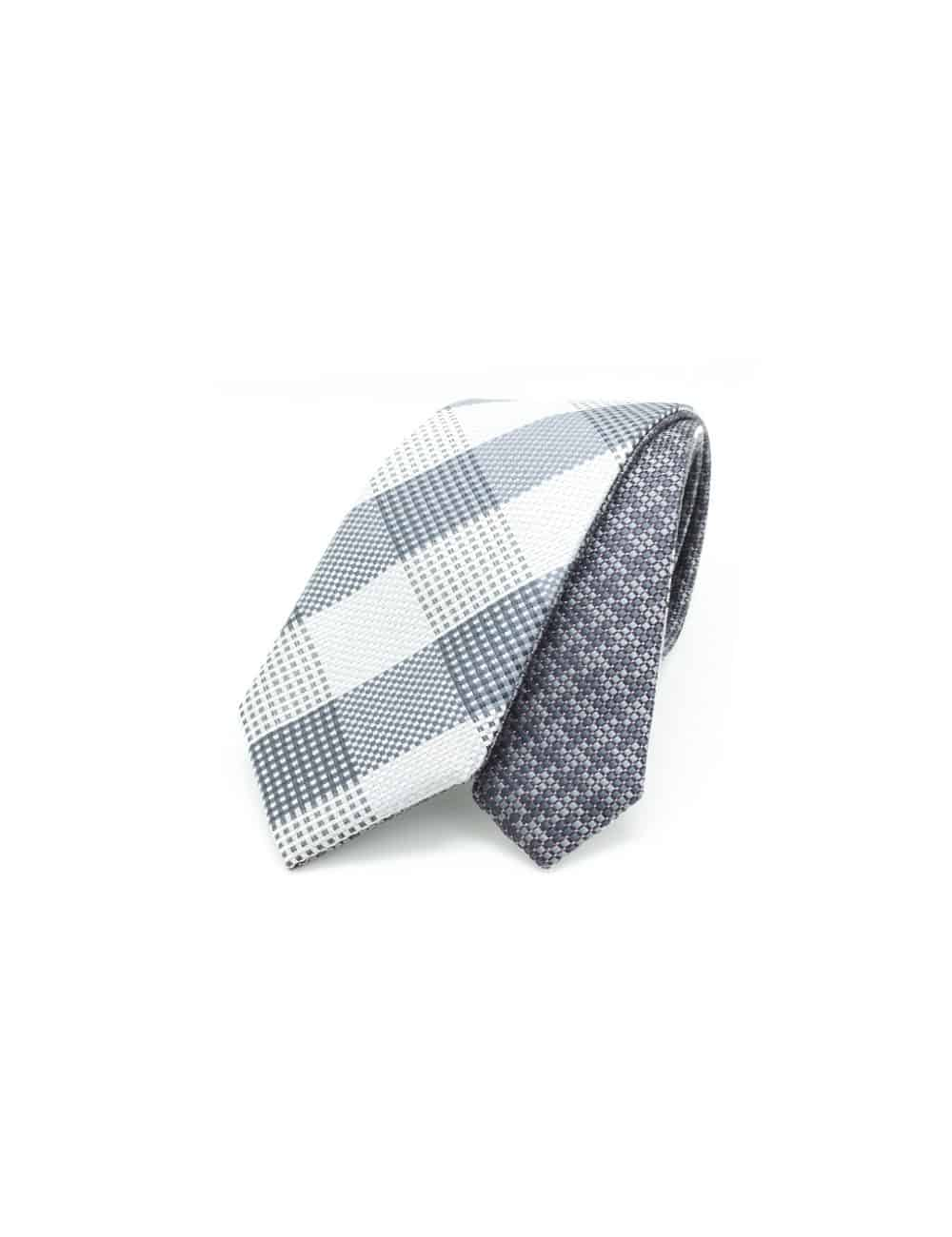 Grey Checks Spill Resist Woven Reversible Necktie RNT10.9