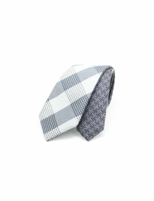 Grey Checks Spill Resist Woven Reversible Necktie RNT10.9