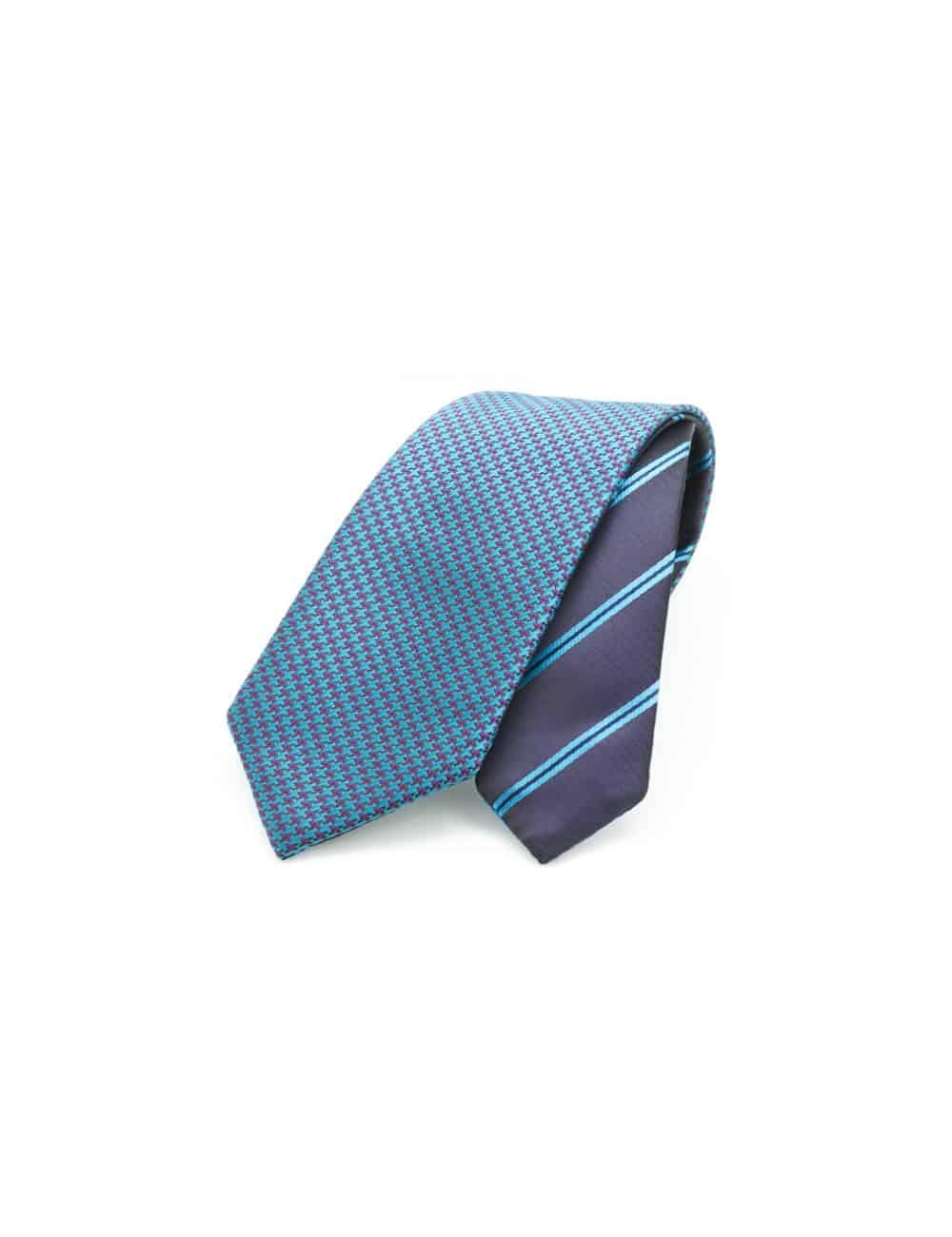 Turquoise Dobby Spill Resist Woven Reversible Necktie RNT11.9