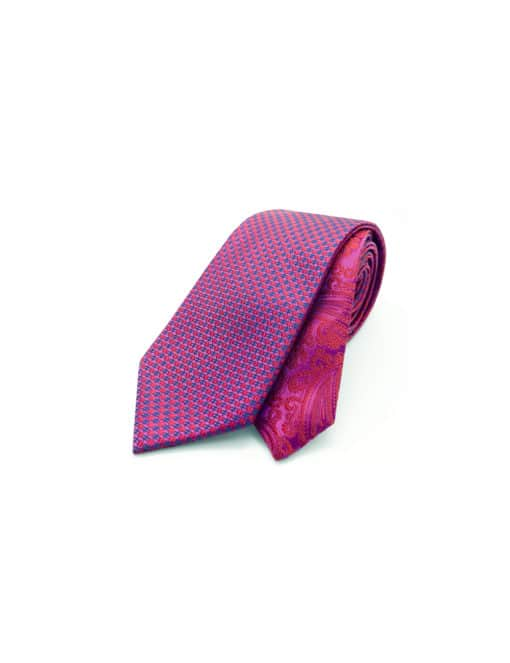 Pink Dobby Spill Resist Woven Reversible Necktie RNT3.9
