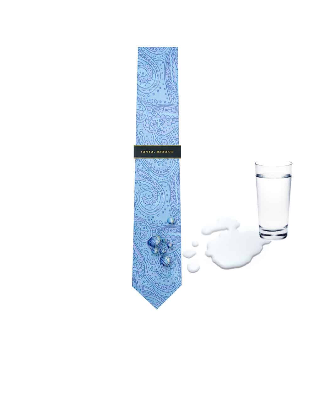 Turquoise Floral Spill Resist Woven Reversible Necktie RNT5.9