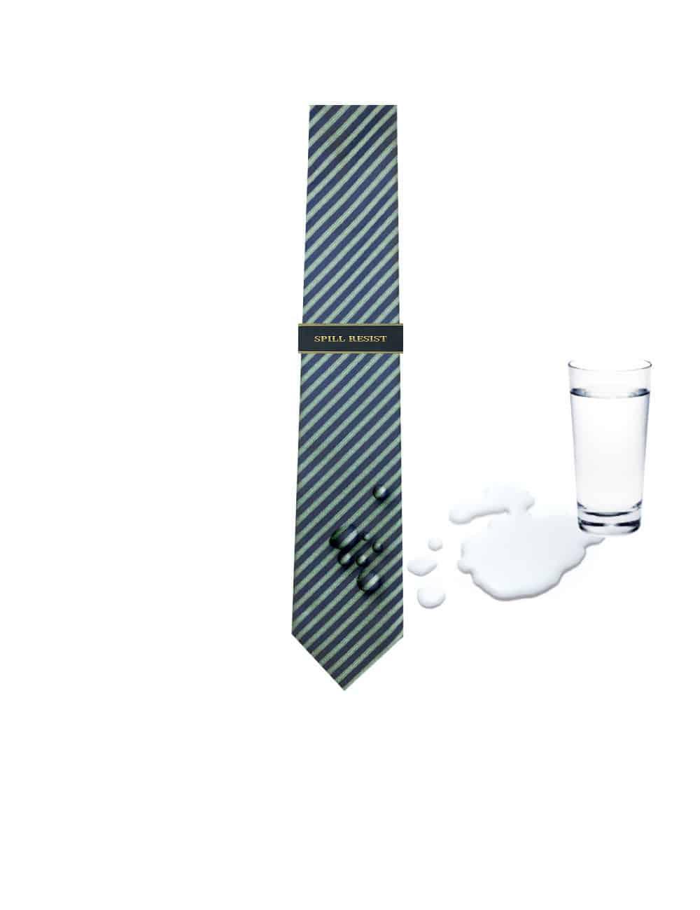 Green Stripes Spill Resist Woven Reversible Necktie RNT6.9