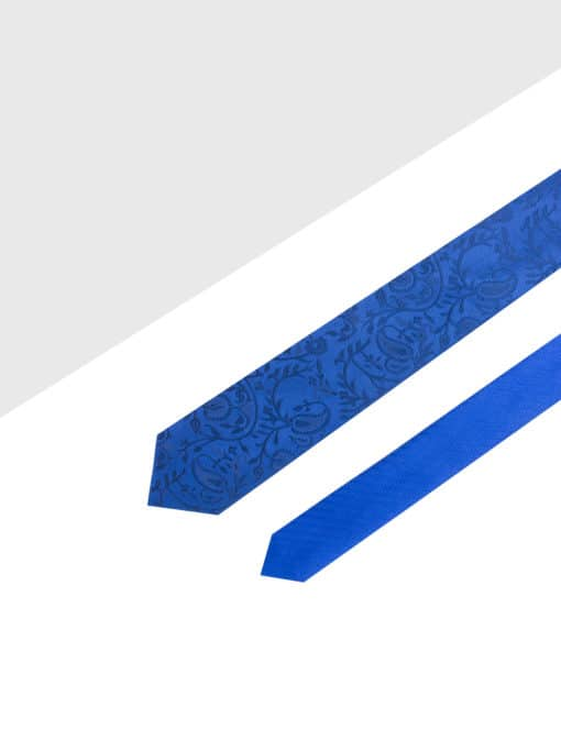 Blue Floral Spill Resist Woven Reversible Necktie RNT7.9