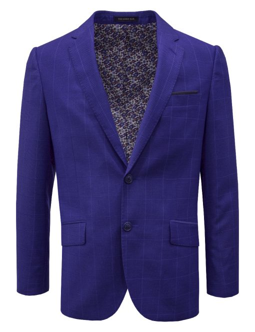 Slim Fit Royal Blue Checks Single Breasted Blazer - S2B6.4