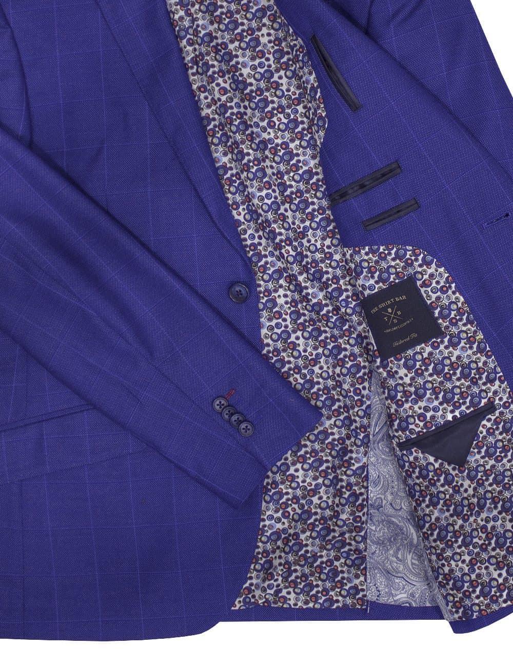 Slim Fit Royal Blue Checks Single Breasted Blazer - S2B6.4