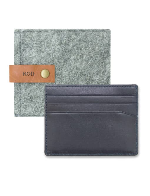Navy 100% Genuine Top Grain Leather Card Case with RFID Anti-theft SLG9.NOB1