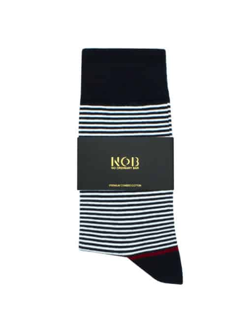 Navy and White Stripes Crew Socks made with Premium Combed Cotton SOC1A.NOB1
