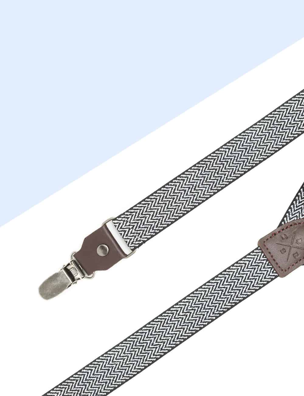 Black and White Pattern Single Back Clip 2.5cm Suspender with Leather SPD10.4