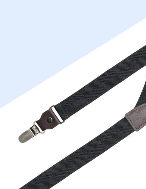 Black Herringbone Single Back Clip 2.5cm Suspender with Leather SPD11.4