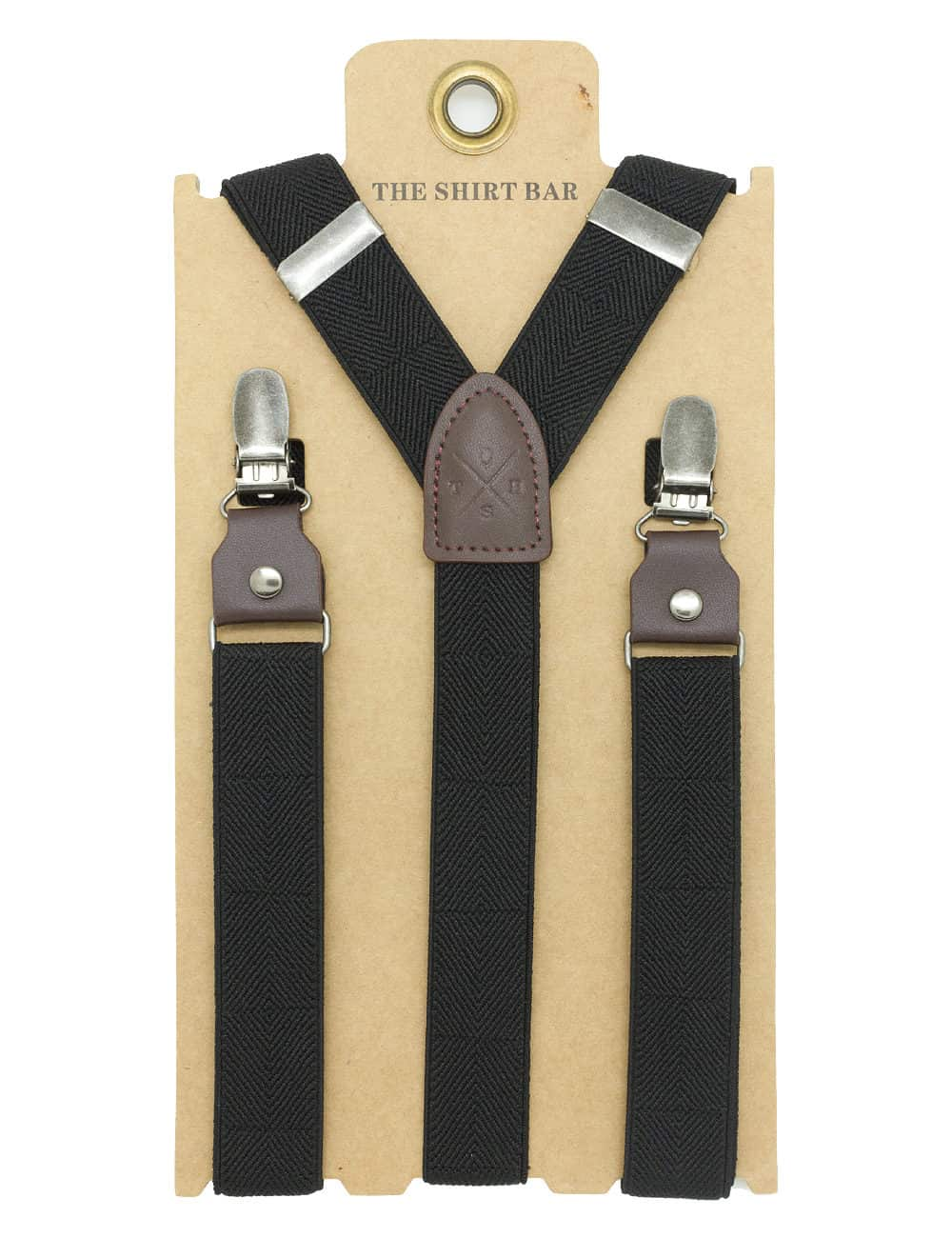 Black Herringbone Single Back Clip 2.5cm Suspender with Leather SPD11.4