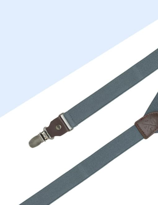Solid Grey Single Back Clip 2.5cm Suspender with Leather SPD12.4