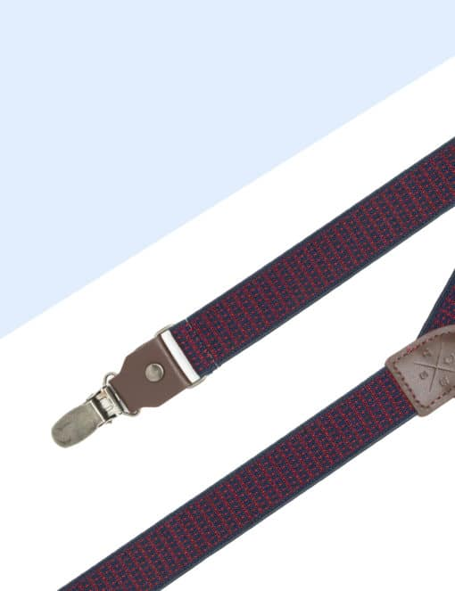 Navy with Red Polka Dots Single Back Clip 2.5cm Suspender with Leather SPD15.4
