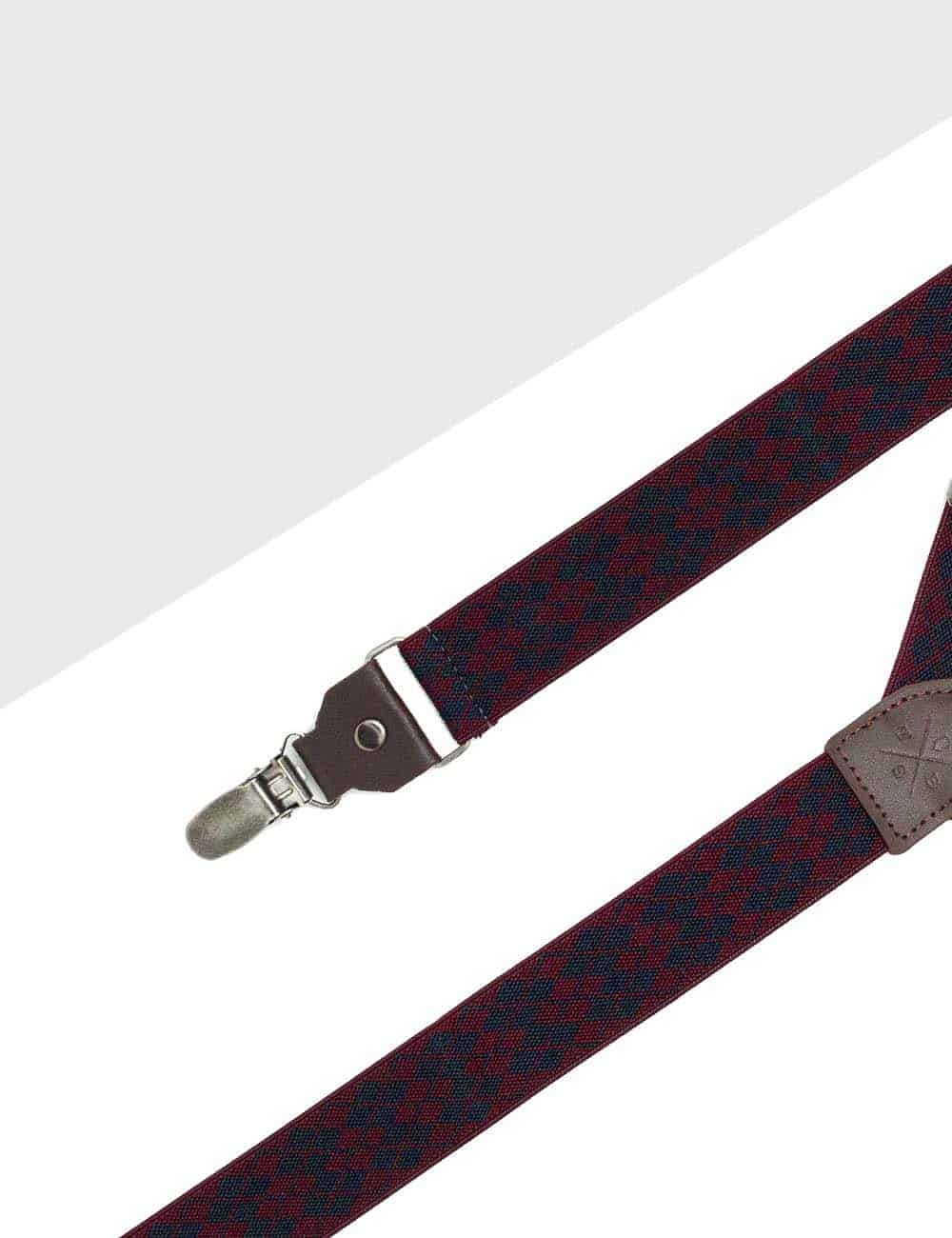 Wine with Navy Diamond Single Clip Back 3cm Suspender with Leather SPD17.4
