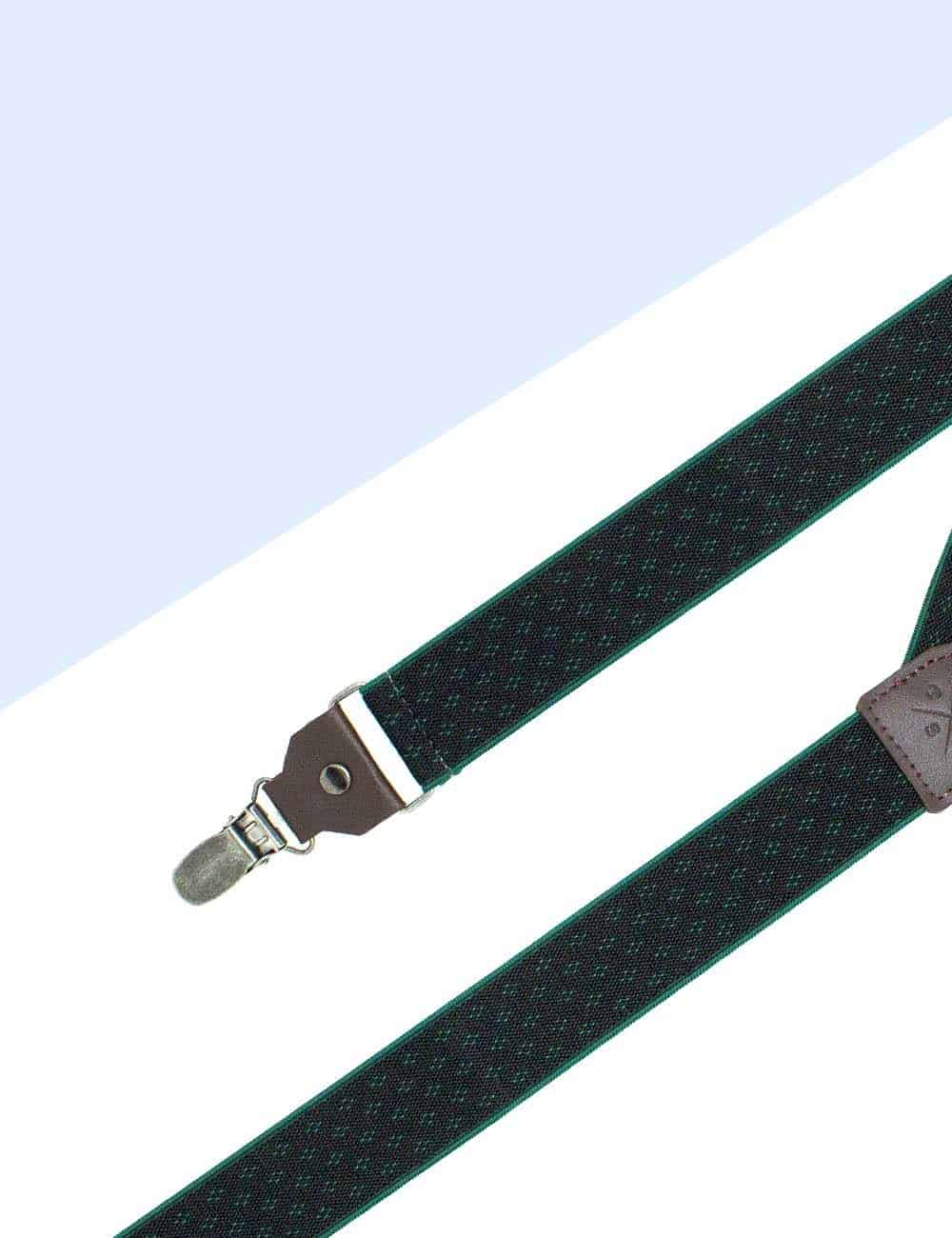 Black with Green Floral Single Back Clip 3cm Suspender with Leather SPD19.4