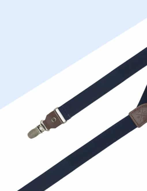Solid Peacoat Navy Single Back Clip 2.5cm Suspender with Leather SPD2.4