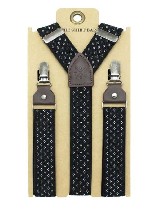Black with White Floral Single Back Clip 3cm Suspender with Leather SPD20.4