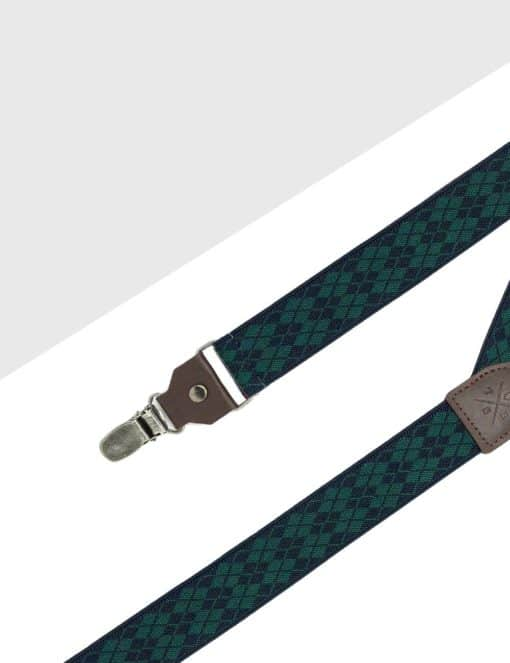 Green with Navy Diamond Single Clip Back 3cm Suspender with Leather SPD21.4