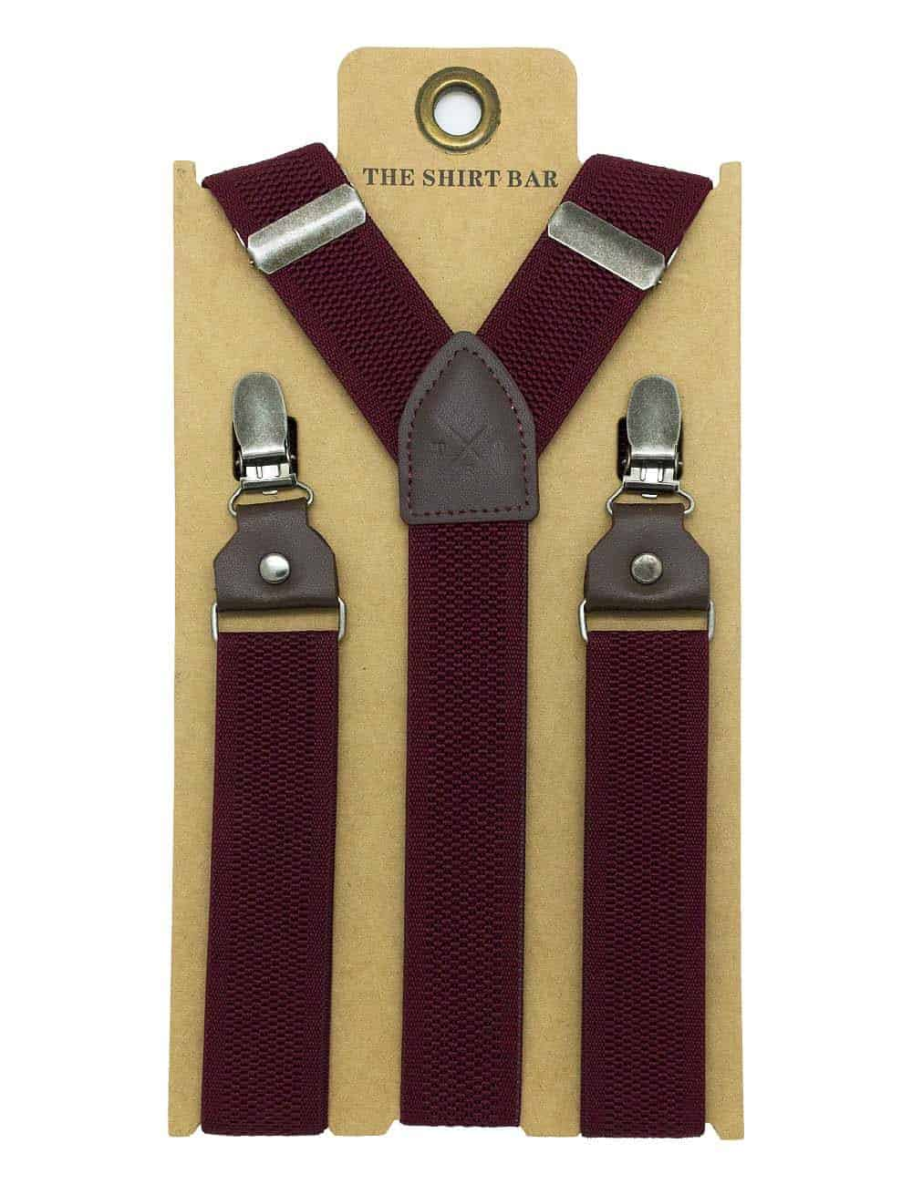Maroon Pattern Single Back Clip 3cm Suspender with Leather SPD22.4