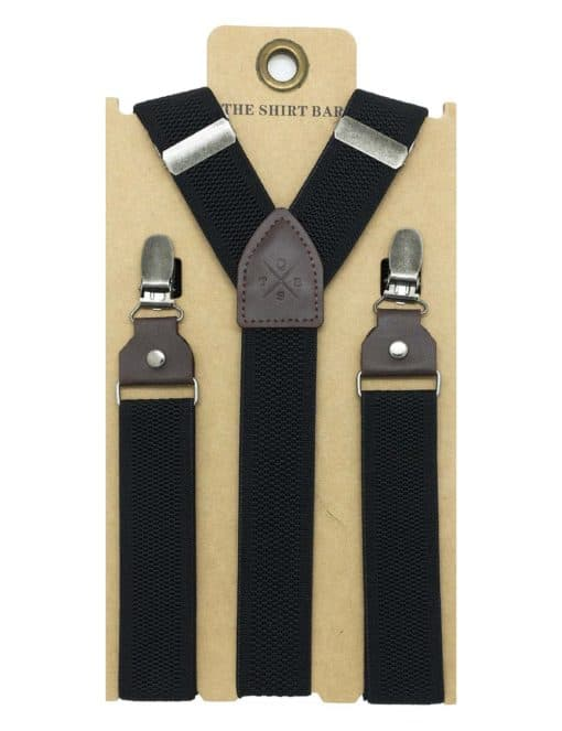 Black Pattern Single Back Clip 3cm Suspender with Leather SPD23.4