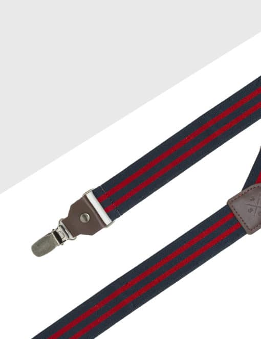 Navy with Red Stripes Single Back Clip 3cm Suspender with Leather SPD24.4