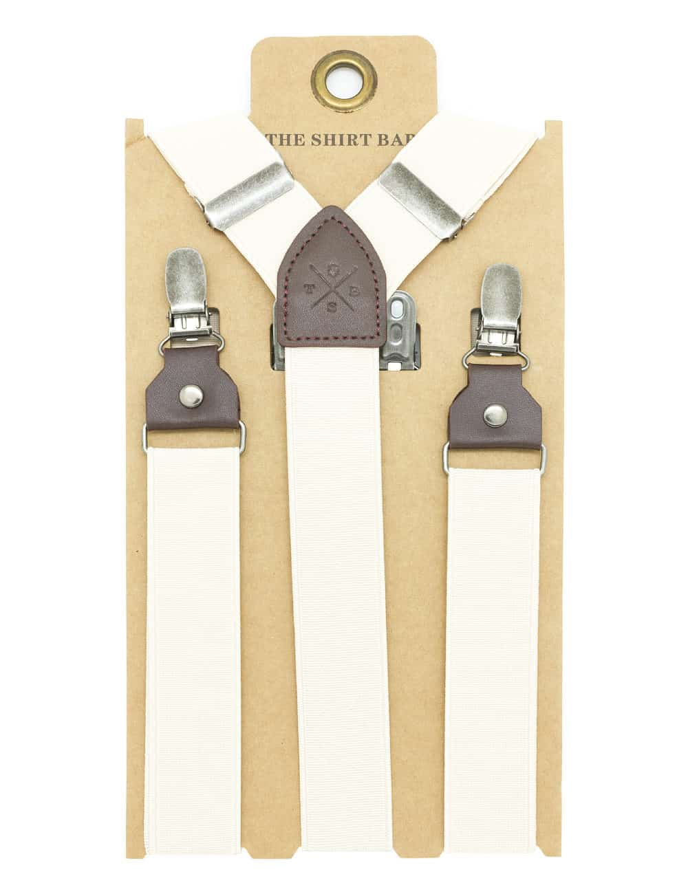 Solid Sand Double Back Clip 3cm Suspender with Leather SPD27.4