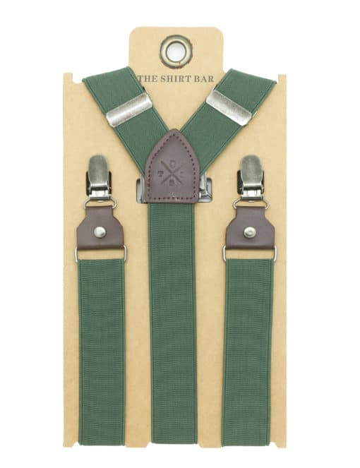 Solid Olive Green Double Back Clip 3cm Suspender with Leather SPD30.4