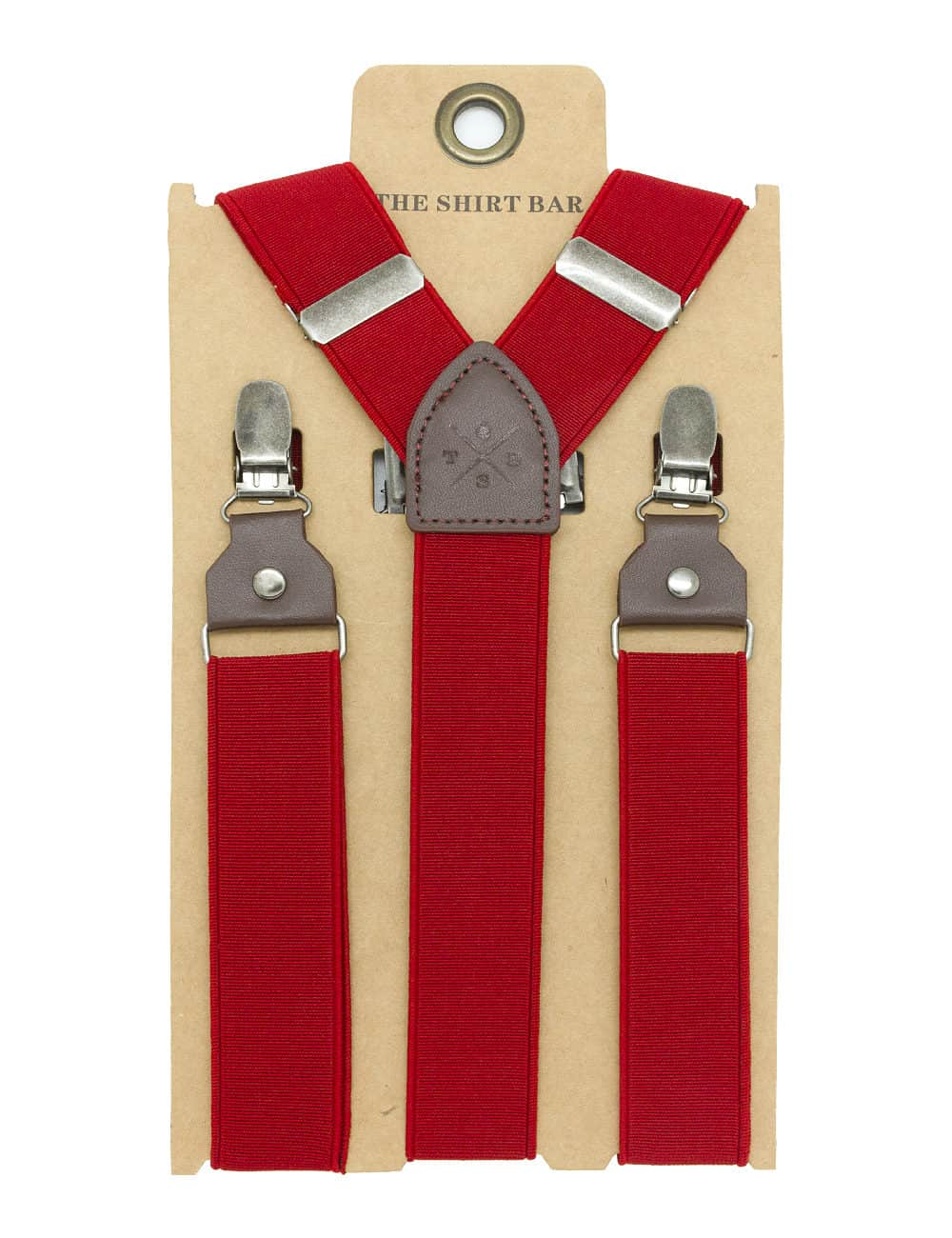 Solid Red Double Back Clip 3cm Suspender with Leather SPD31.4