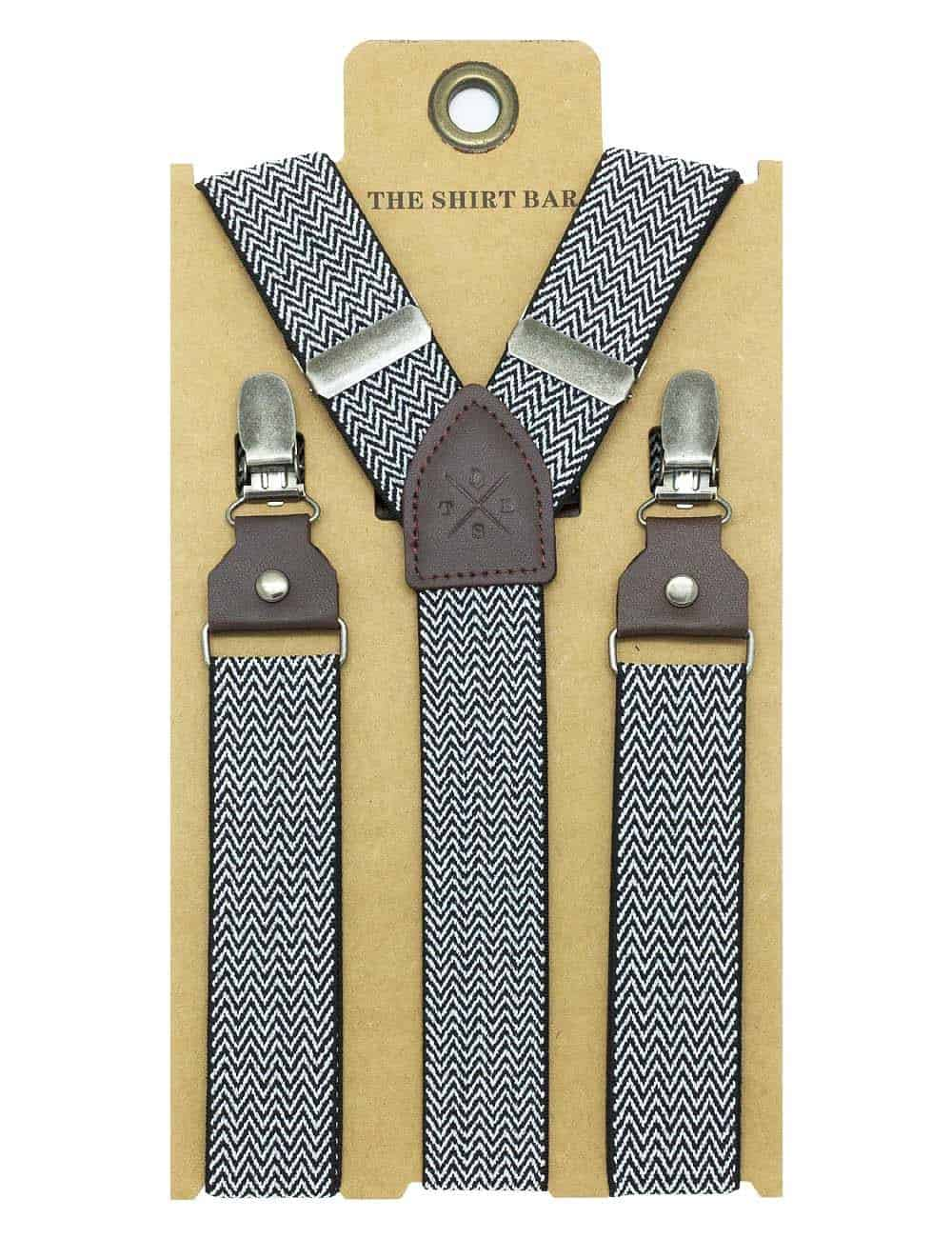 Black and White Pattern Double Back Clip 3cm Suspender with Leather SPD35.4