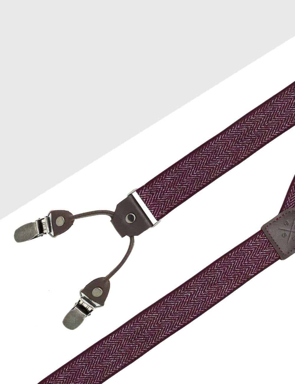 Maroon Pattern Double Back Clip 3cm Suspender with Leather SPD38.4