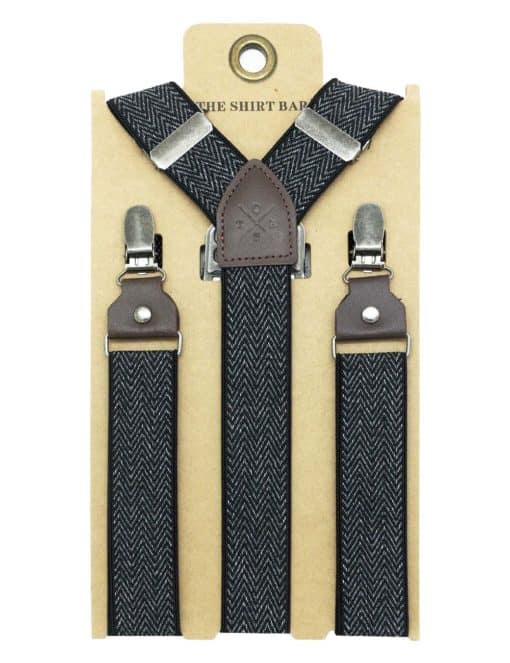 Black Pattern Double Back Clip 3cm Suspender with Leather SPD39.4