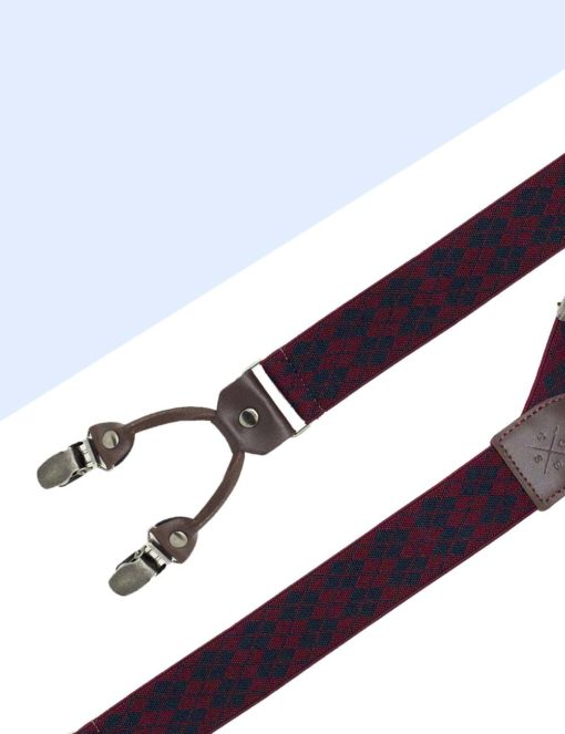 Wine with Navy Diamond Double Back Clip 3.5cm Suspender with Leather SPD40.4