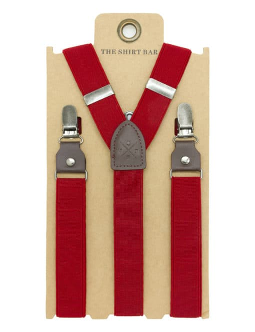 Solid Red Single Back Clip 2.5cm Suspender with Leather SPD5.4