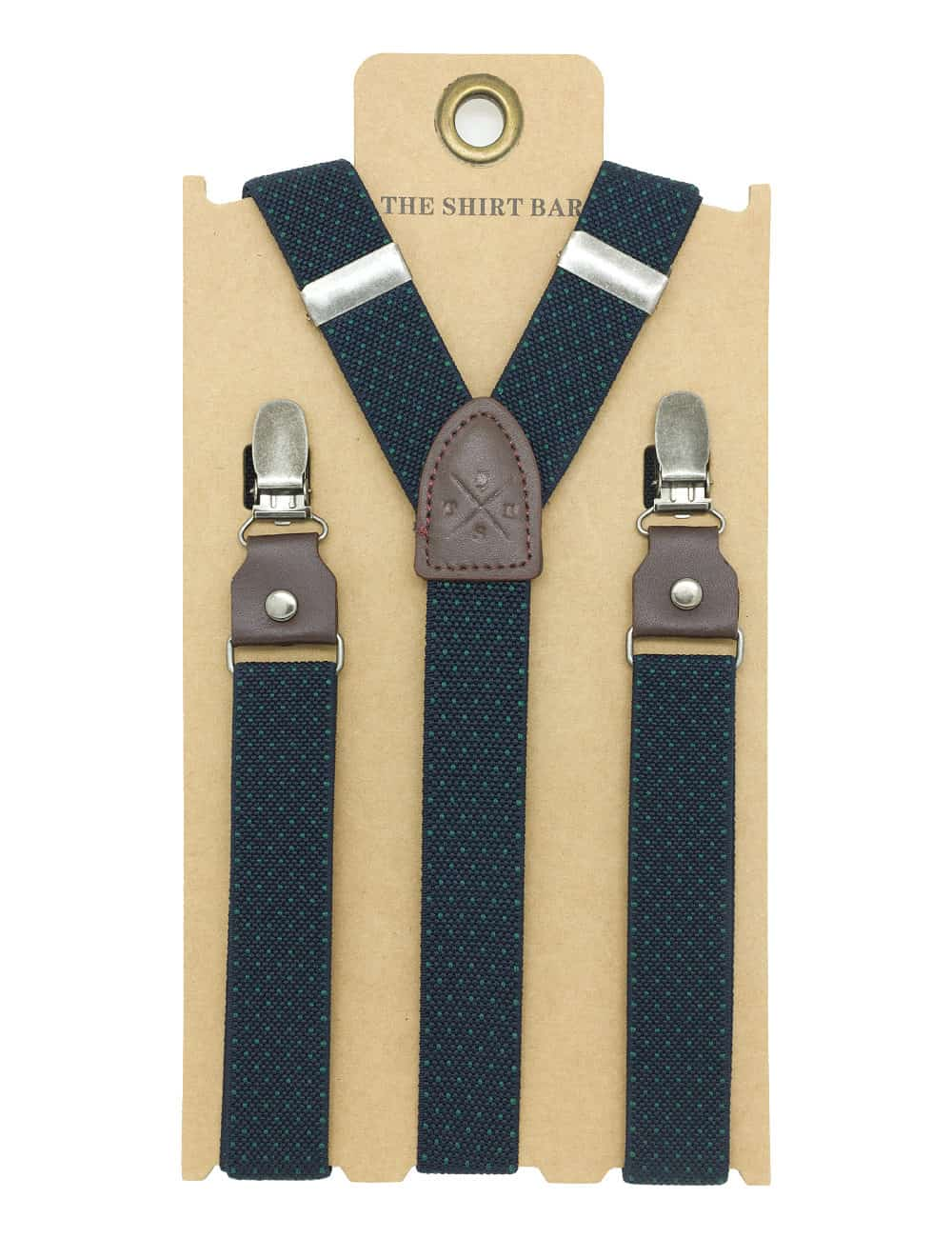Navy with Green Polka Dots Single Back Clip 2cm Suspender with Leather SPD6.4