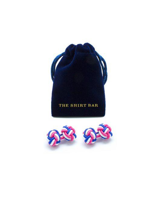 Pink/ White/ Navy Silk Knots - 0112-003