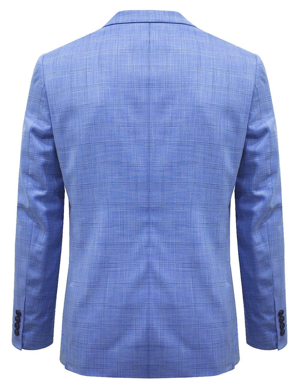 Sky Blue Checks Single Breasted Blazer with Stretch - S2B3.3