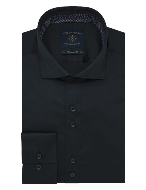 Solid Black Easy Iron Double Button Design Slim / Tailored Fit Long Sleeve Shirt – TF42Q1.11