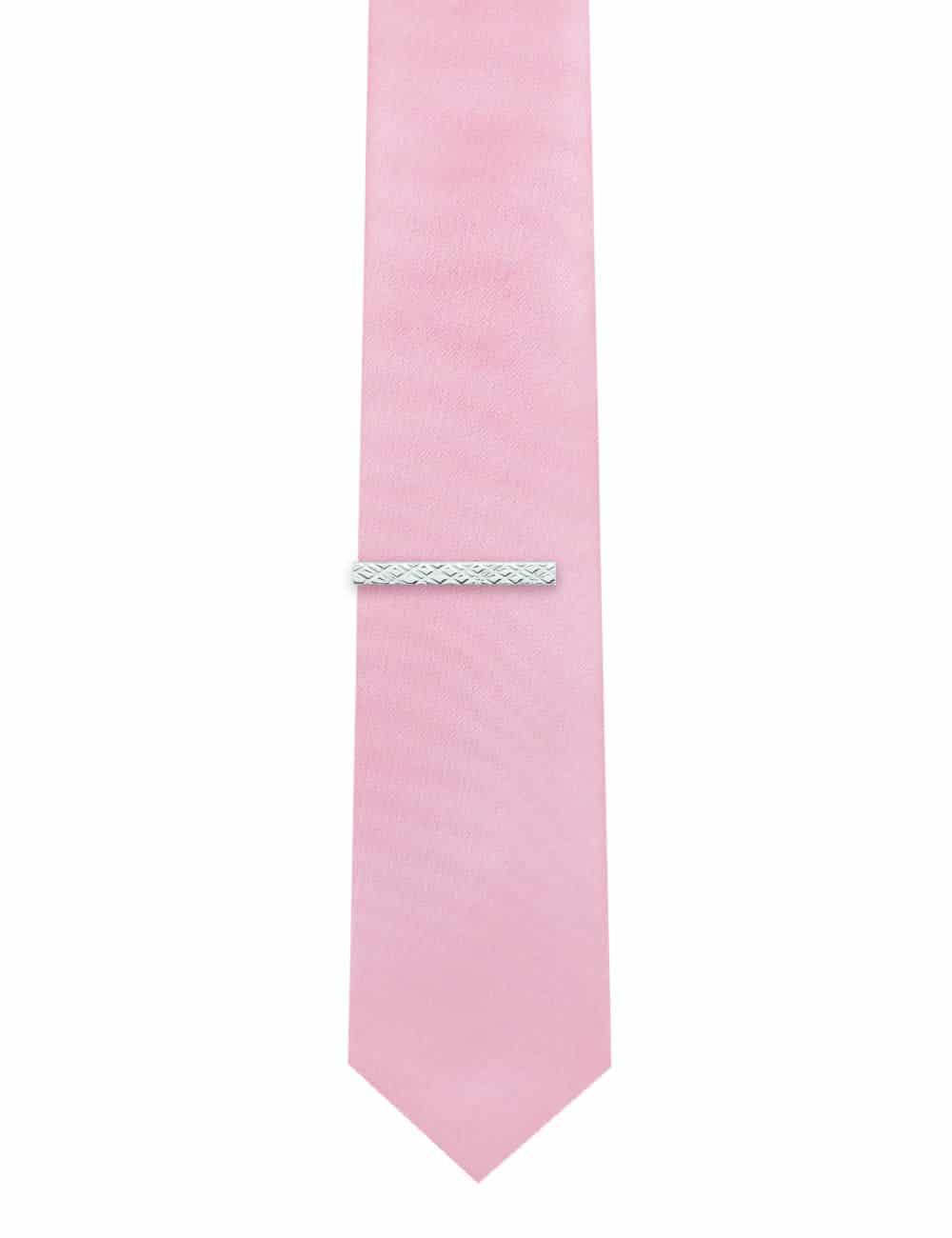 Classic Silver Check Tie Clip T101FC-028
