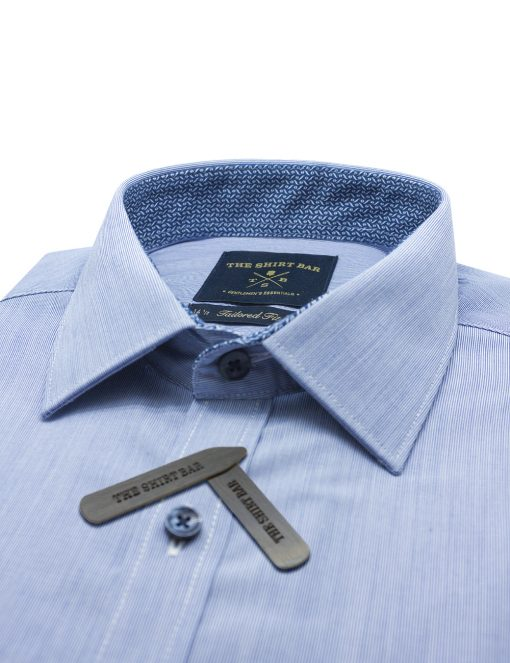 Navy and White Hairline Stripes Spill Resist Slim / Tailored Fit Long Sleeve Shirt – TF2F4.11